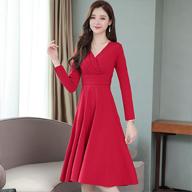 实拍8025#红色连衣裙早秋装2019年新款气质V领小红裙收腰中长款