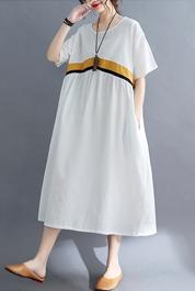 8300#实拍现货2021夏新款韩版宽松棉麻大码文艺复古拼接连衣裙女