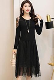 2020春装新款毛衣裙女时尚韩版修身黑色蕾丝打底中长款针织连衣裙