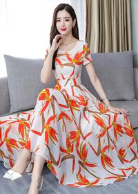夏装裙子2019新款气质流行女装时尚修身显瘦短袖雪纺连衣裙长裙