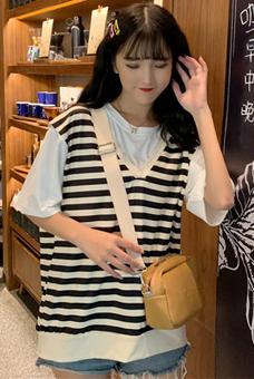 实拍2019条纹俩件套女夏韩版文艺圆领纯色短袖T恤条纹马甲
