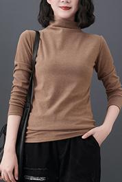 实拍8579#2020年秋冬文艺复古半高领内搭纯色长袖打底衫