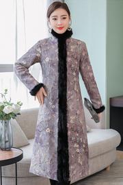 新品冬旗袍女长袖保暖麂皮绒改良版唐装旗袍裙中国风中式礼服旗袍