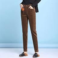 实拍2019秋季新款高腰修身高端时尚洗水灯芯绒小脚裤女裤哈伦裤