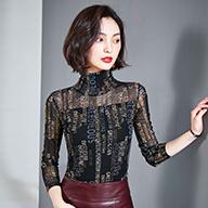 1226# (实拍) 新款时尚百搭加绒加厚高领印花网纱打底衫女