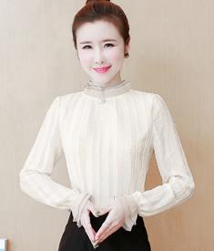 2020春秋款蕾丝打底衫女长袖荷叶边领打底衫韩版修身显瘦上衣