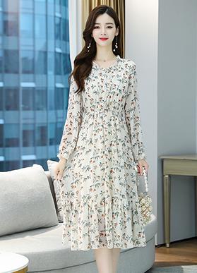 实拍9135# 秋装2020新款减龄仙女裙子女显瘦雪纺碎花连衣裙