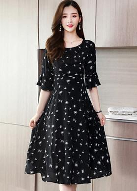 现货实拍雪纺碎花收腰显瘦连衣裙女夏中长款2020新款夏天裙子