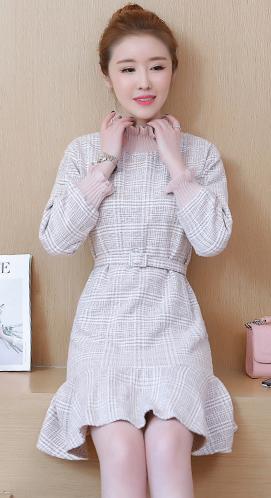 实拍:1859#新款毛呢连衣裙秋冬款中长裙
