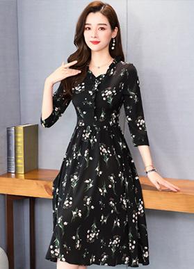 实拍#2020春季新款韩版收腰气质中长款连衣裙时尚大码打底裙