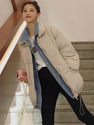 实拍2019新款假两件套羽绒棉服牛仔拼接立领学生棉衣外套韩版女装
