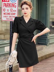实拍 2020夏季新款法式设计感西装领扭结不对称连衣裙女