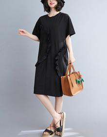 实拍现货2021夏季新款韩版宽松显瘦大码拼接木耳边短袖连衣裙