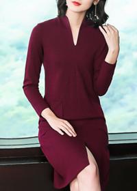 羊毛针织连衣裙春秋冬季2018新款女秋装中长款过膝打底毛衣裙直筒