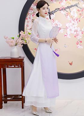 茶服女禅意文艺中国风女装中式禅服女越南奥黛改良旗袍仙连衣裙