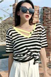 实拍D&ONE2021夏季新款设计感小众V领条纹冰丝针织衫短袖上衣女