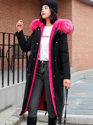 实拍19秋冬新款羽绒服女韩版长款过膝宽松bf收腰显瘦派克皮草外套