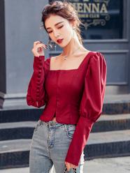 實拍2020春季女方領襯衫女設計感小眾襯衣長袖泡泡袖韓版顯瘦上衣