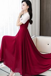 實拍2701#拼接雪紡連衣裙女2020夏新款收腰顯瘦中長裙度假沙灘裙