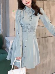 2021秋季法式衬衫连衣裙长袖高腰短款裙子收腰显瘦衬衣裙女