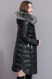 实拍棉衣女中长2018冬季新款pu皮棉袄真狐狸毛领外套羽绒棉服8066