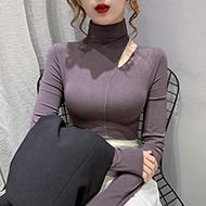 实拍#高领打底衫女秋冬2020年新款内搭锁骨上衣心机设计感长袖t恤