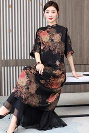实拍重磅真丝香云纱连衣裙中式立领复古高端宽松文艺宽松袍子长裙