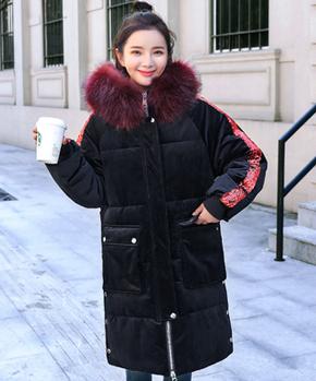 实拍2018网红爆款冬季新品亮片金丝绒大毛领羽绒棉服中长款外套女