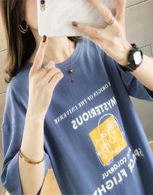 2020夏装6046实拍#纯棉中长款圆领印花短袖宽松显瘦T恤女