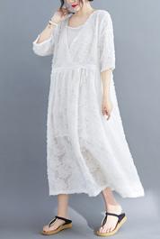 8991#实拍现货2020新款韩版小雏菊剪花两件套胖MM大码连衣裙