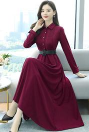 实拍3013#2021春装新款韩版修身显瘦中长款女装时尚长袖连衣裙