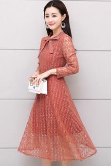 中老年女装连衣裙40岁50中年人秋冬妈妈装长袖蕾丝裙子女显瘦新款
