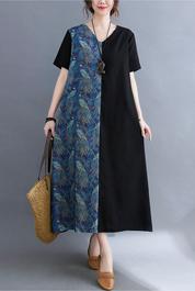 实拍现货2021年夏季新款韩版外贸拼接宽松棉麻大码连衣裙女长裙