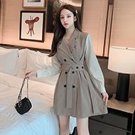 实拍现货2020秋冬新款长袖收腰气质拼接假两件a字西装连衣裙西装