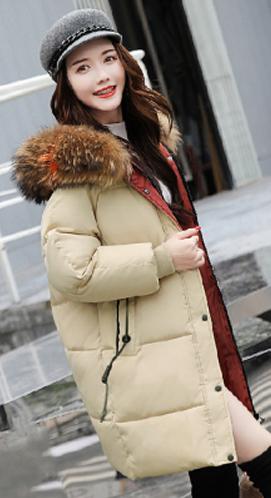 2018冬季新款大毛领中长款加厚羽绒棉衣防寒服韩版学生复古外套女