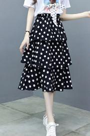 2019款女连衣裙夏流行裙子女装新款波点a字裙套装短袖T两件套