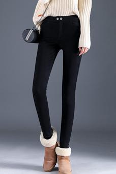 9080#实拍超柔时尚休闲加绒加厚2018黑色小脚长裤修身显瘦铅笔裤