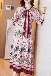 流行裙子春裝時尚日系溫柔風印花連衣裙穿搭皮草女拜年裙早春