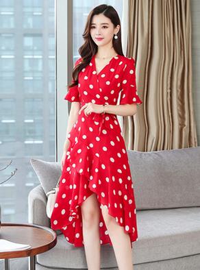 实拍9913#夏新款法式不规则小众气质显瘦大摆裙网红复古波点连衣