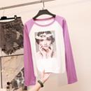 95棉5氨纶秋季新款韩版学院风宽松显瘦拼色插肩袖t恤女