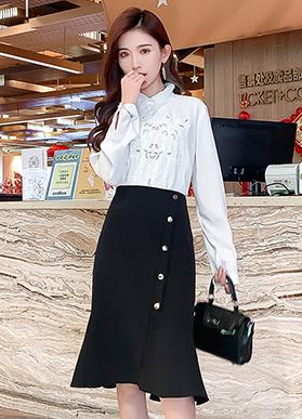 韩版鱼尾裙不规则包臀裙2020秋冬新款女高腰修身开叉中长款半身裙