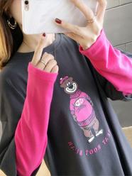 2020春装2060#实拍网红超火假两件长袖t恤女宽松洋气打底衫上衣服