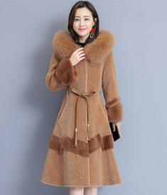 实拍1887#羊剪绒大衣女2019新款冬季妈妈狐狸毛皮草外套中长款