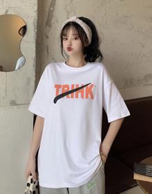 实拍 6535棉 夏装新款印花短袖T恤女原宿中长款百搭上衣