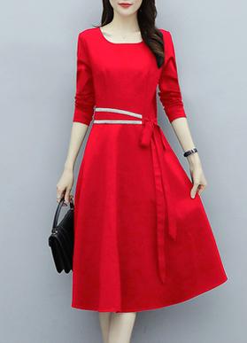 实拍8058#长袖2019秋冬季新款气质修身打底黑色红色中长款连衣裙