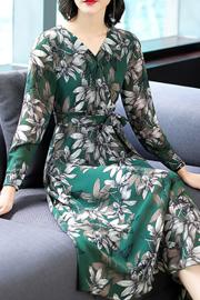 实拍1811#印花雪纺连衣裙女韩版显瘦修身碎花长裙子2018新款秋装
