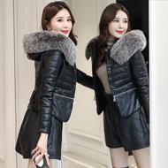 pu皮大毛領女短款2019冬新款小個子韓版修身顯瘦羽絨棉外套