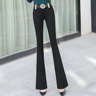 喇叭裤子女2019春款新韩版微喇叭裤女高腰显瘦时尚黑色长裤