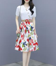 T恤半身裙兩件套女時尚夏季2020新款名媛小香風網紅輕熟裙子套裝