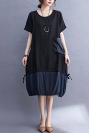 实拍现货2021年夏季新款外贸韩版仿真丝拼接抽绳连衣裙大码女装
